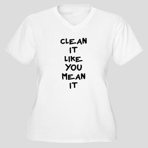 Mean Clean Women's Plus Size V-Neck T-Shirt