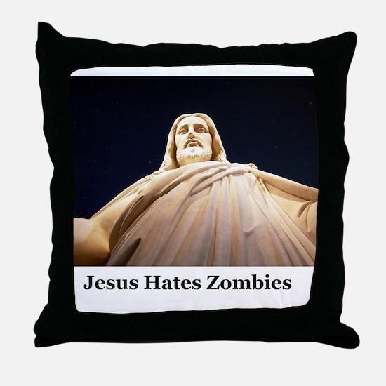 Jesus Hates Zombies Throw Pillow