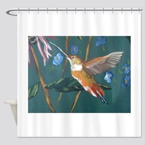 Hummingbird gold Shower Curtain
