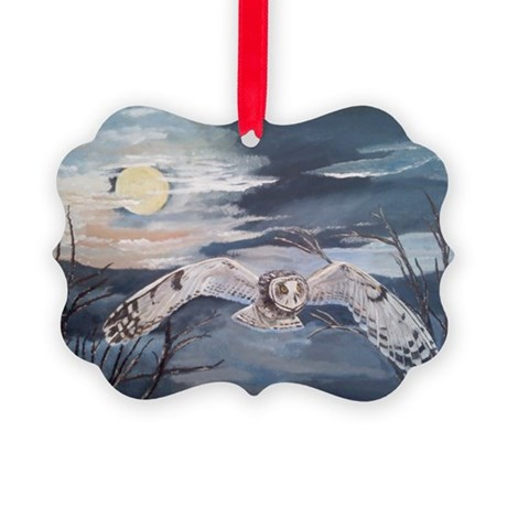 Small horned owl in flight Picture Ornament