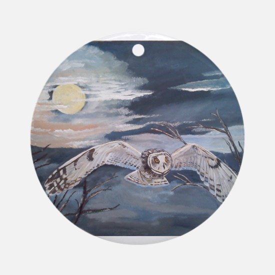 Small horned owl in flight Ornament (Round)