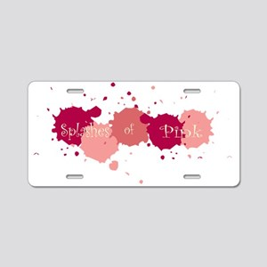Splashes Pink Aluminum License Plate