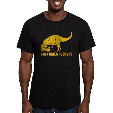 T-rex Hares Pushups Men's Fitted T-Shirt (dark)