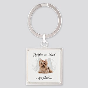 Angel Yorkie Square Keychain