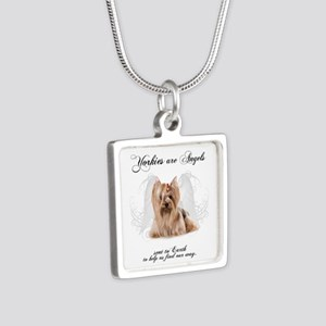 Angel Yorkie Silver Square Necklace