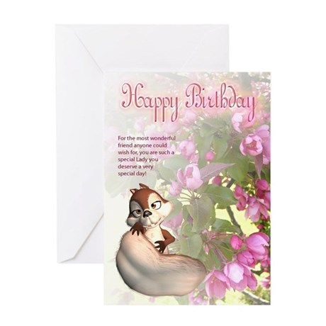 Friend Birthday Greeting Card With Cute Squirrel a