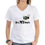 He's My Honey Matching Women's V-Neck T-Shirt