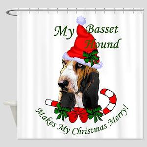 Basst Hound Christmas Shower Curtain