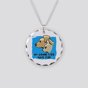 Grand Kids Fur Necklace Circle Charm