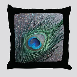 Sparkly Black Peacock Throw Pillow