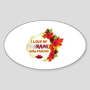 Bahraini Girlfriend Valentine design Sticker (Oval