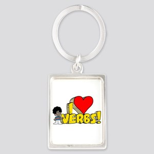 I Heart Verbs - Schoolhouse R Portrait Keychain