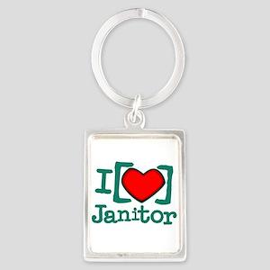 I Heart Janitor Portrait Keychain