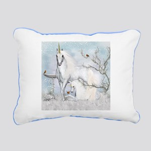 Fantasy Unicorn With Foal Canvas Pillow