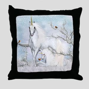 Horse, Winter Unicorn Fantasy Throw Pillow