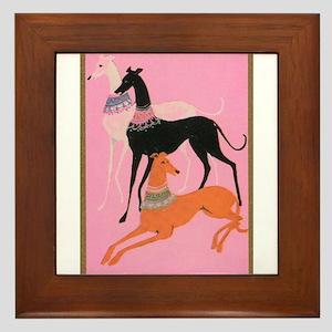 Greyhounds art deco Framed Tile