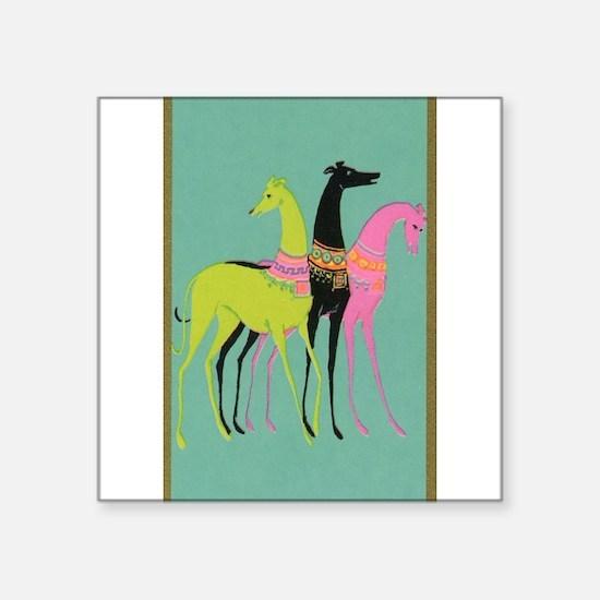 """Art Deco Ornate Greyhounds Square Sticker 3"""" x 3"""""""