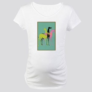 Art Deco Ornate Greyhounds Maternity T-Shirt