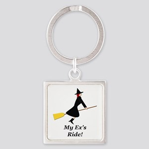 My Ex Rides a Broom Square Keychain