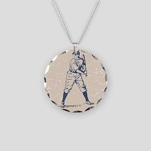 Baseball Player Necklace Circle Charm