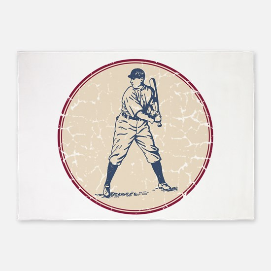 Baseball Player 5'x7'Area Rug