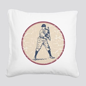 Baseball Player Square Canvas Pillow