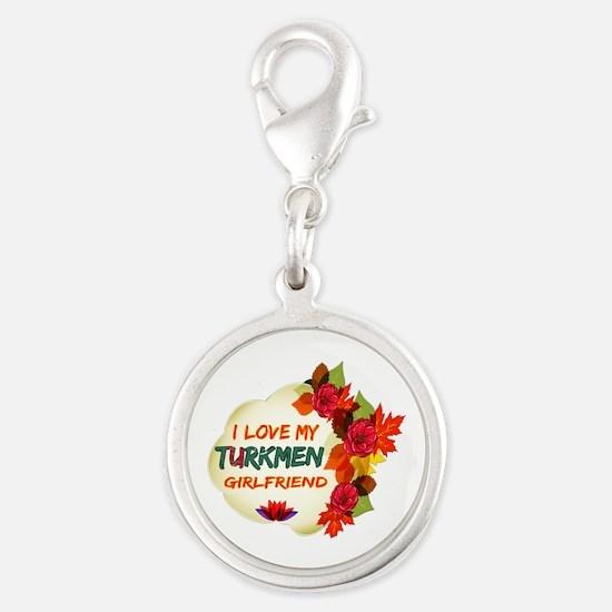 Turkmen Girlfriend Valentine design Silver Round C