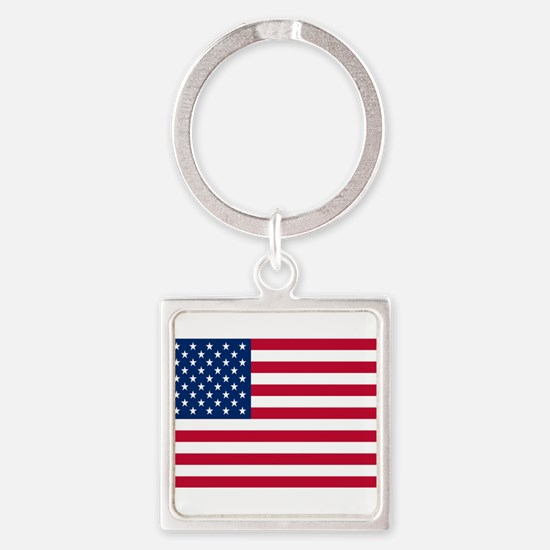 American Flag Square Keychain