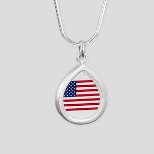 American Flag Silver Teardrop Necklace