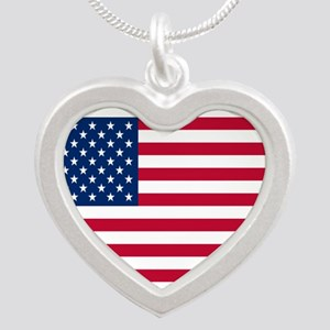 American Flag Silver Heart Necklace