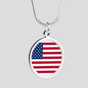 American Flag Silver Round Necklace
