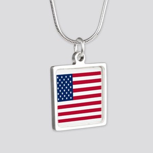 American Flag Silver Square Necklace