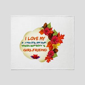 Uzbek Girlfriend Valentine design Throw Blanket