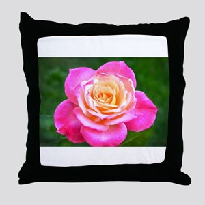 Pink Sunset Rose Throw Pillow