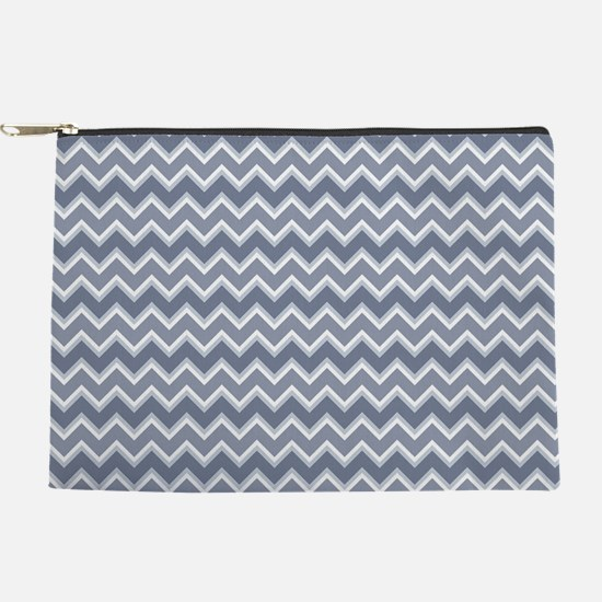 Shades of Blue Chevron Stripes Makeup Pouch