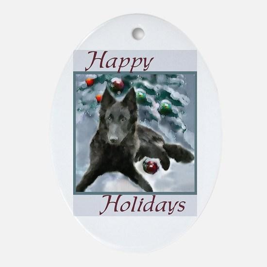 Belgian Sheepdog Christmas Oval Ornament