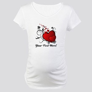 Personalized Red/Black Hearts Maternity T-Shirt