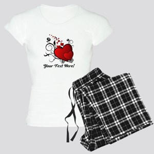 Personalized Red/Black Hearts Women's Light Pajama