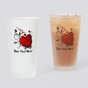 Personalized Red/Black Hearts Drinking Glass