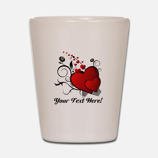 Personalized Red/Black Hearts Shot Glass