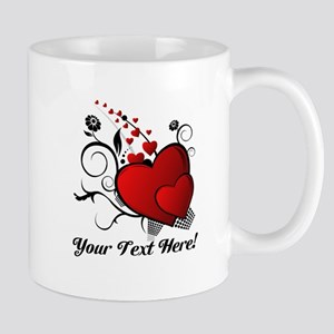 Personalized Red/Black Hearts Mug