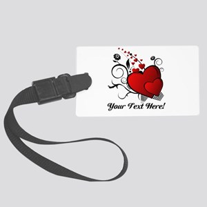 Personalized Red/Black Hearts Large Luggage Tag
