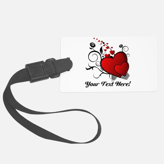 Personalized Red/Black Hearts Luggage Tag