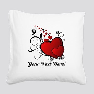Personalized Red/Black Hearts Square Canvas Pillow