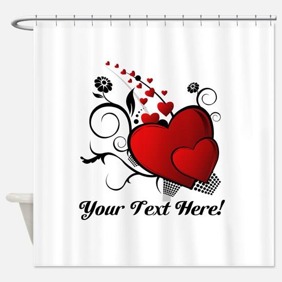 Personalized Red/Black Hearts Shower Curtain