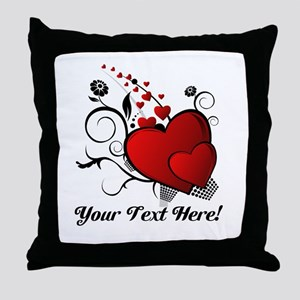 Personalized Red/Black Hearts Throw Pillow