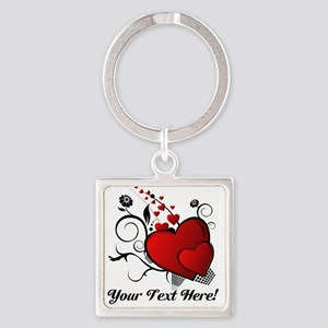 Personalized Red/Black Hearts Square Keychain