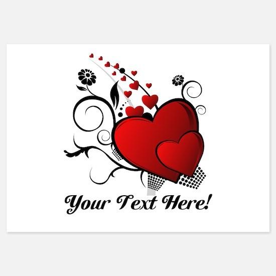 Personalized Red/Black Hearts Invitations
