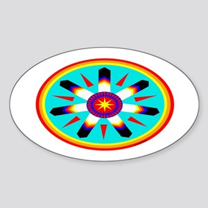 EAGLE FEATHER MEDALLION Sticker (Oval)
