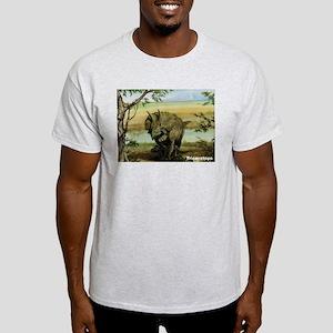Triceratops Dinosaur (Front) Ash Grey T-Shirt